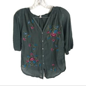TINY Anthropologie Embroidered Silk Blouse